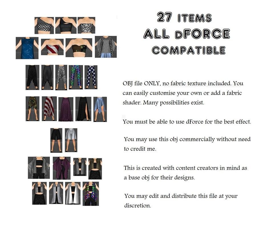 Genesis 8 Wardrobe // dForce Compatible 27 Items Feb 01