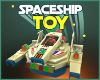 3D vintage spaceship toy model
