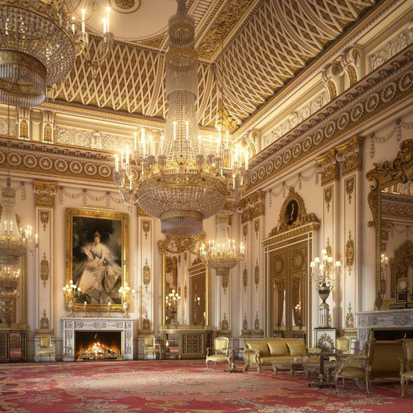 3D model interior scene white room