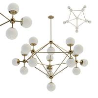 3D model chandelier modo gold 18