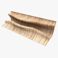 3D model wooden parametric desk bench