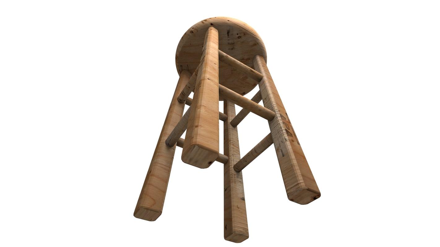 stool wood model