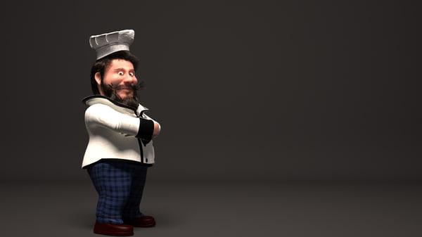 3D cartoon character chef model