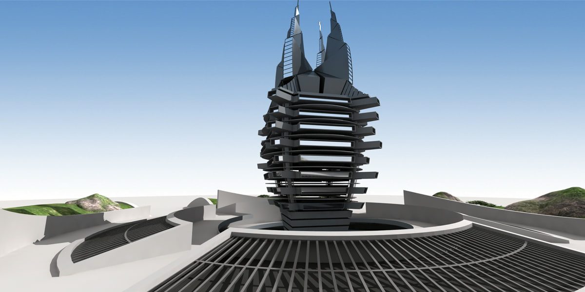 originally modern building 3D