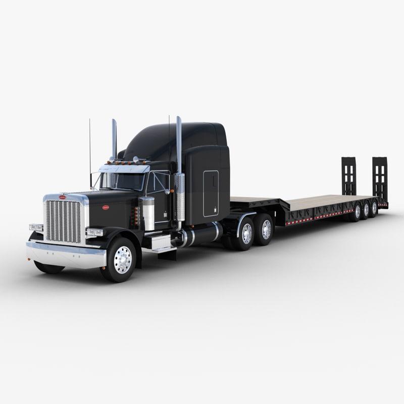 3D model lowboy semi-trailer truck v3