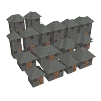 3D modular brick house set