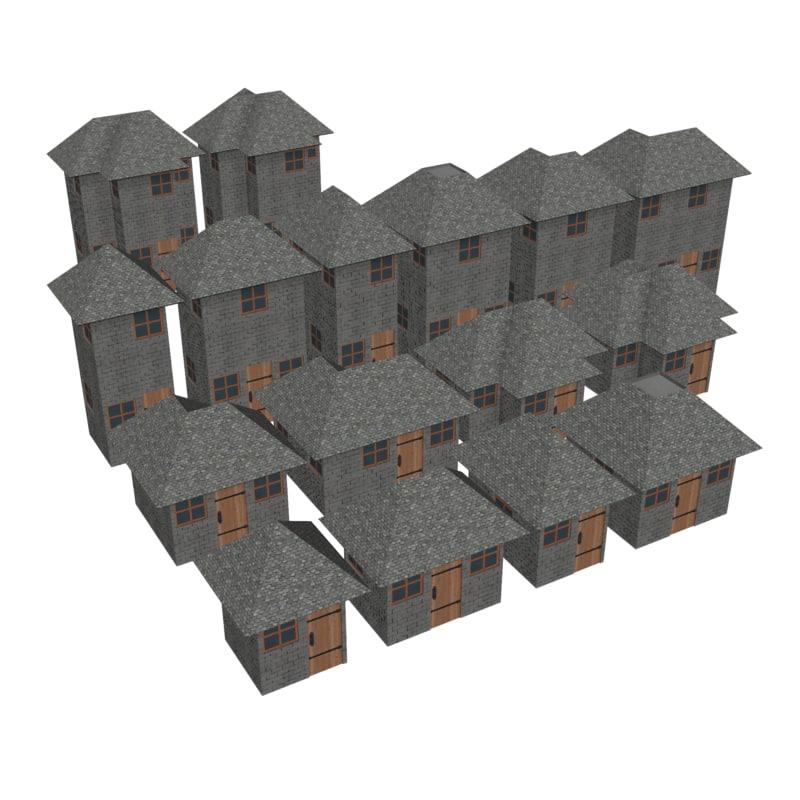 3D modular brick house set