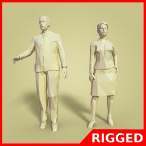 business man woman rigged 3D