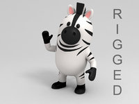 zebra character cartoon 3D