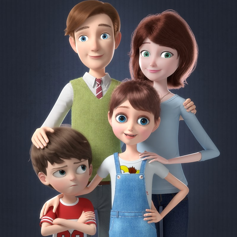cartoon family rigged character 3D model