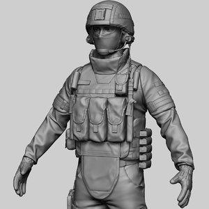 3D russian soldier model