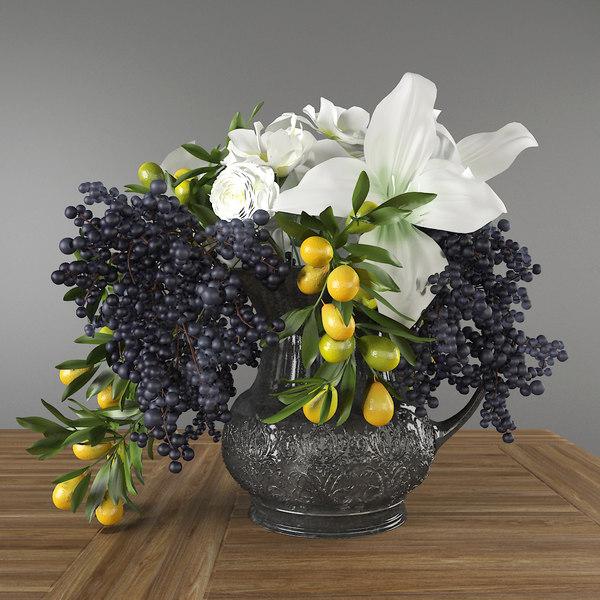 3D bouquet privetberry amaryllis