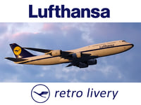 Boeing 747-8 of Lufthansa airlines in retro livery. 3D model.