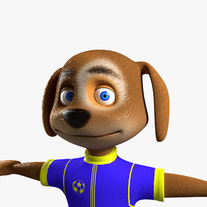 3D model dog rigged