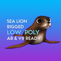 3D Cartoon Sea Lion LOW-POLY RIGGED