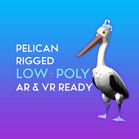 3D Cartoon Pelican LOW-POLY RIGGED