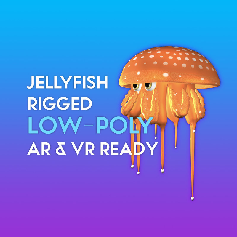 3D jellyfish low-poly ready vr