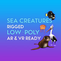 3D Cartoon Sea Creature Pack LOW-POLY RIGGED