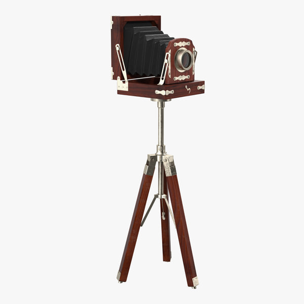 antique folding plate camera tripod 3D model
