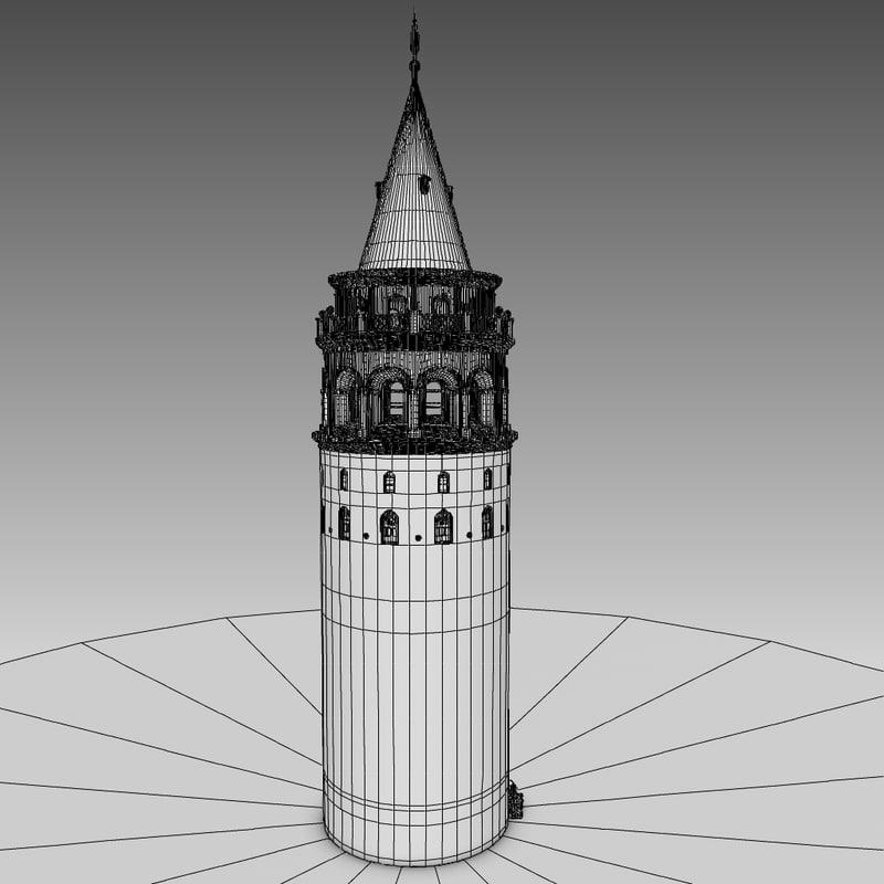 3D galata tower kulesi