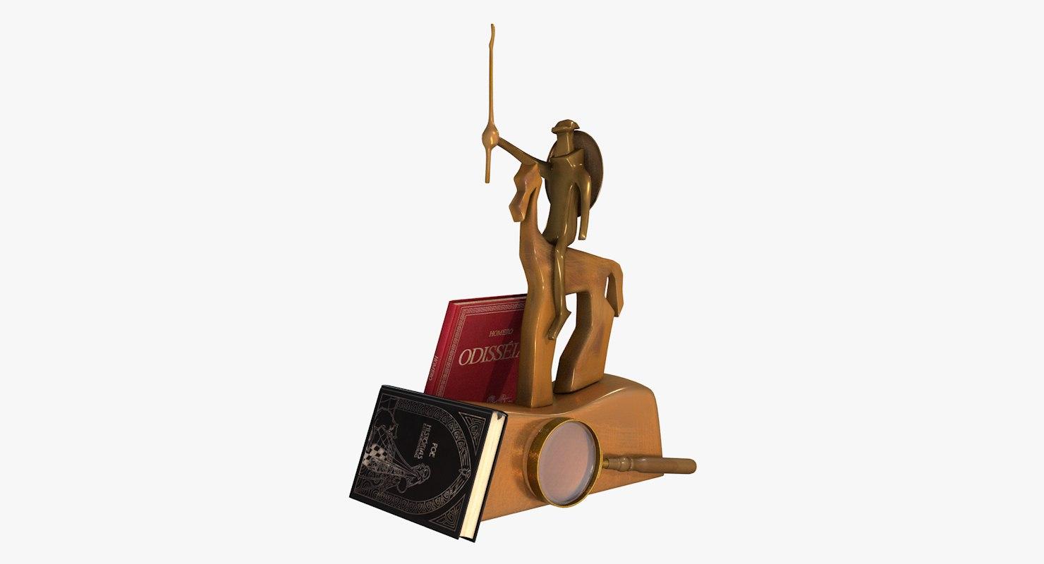 3D sculpture books magnifying glass