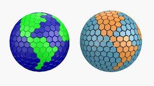 3D earth hexagons