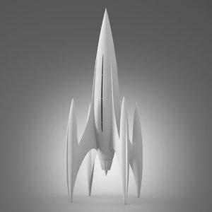 retro rocket ship 3D model