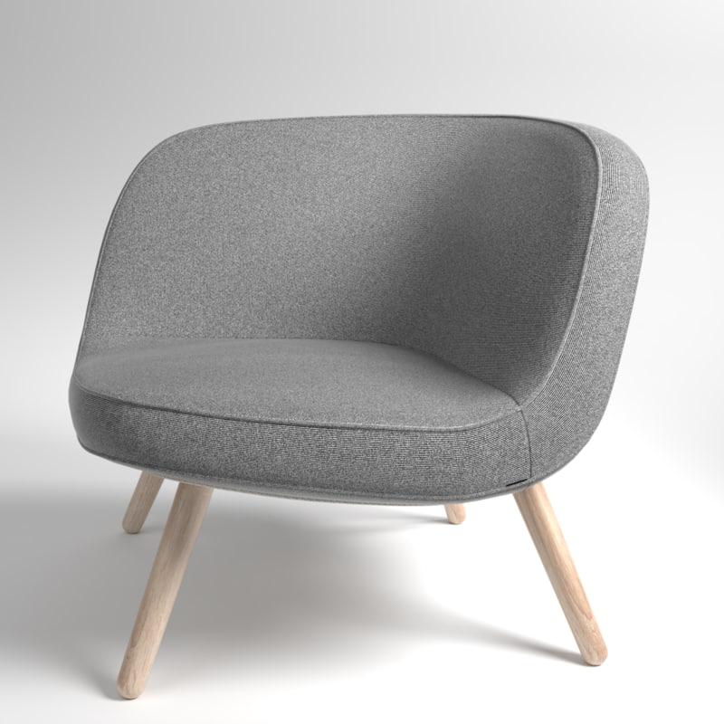 3D model interior fritzhansen via57 fabric