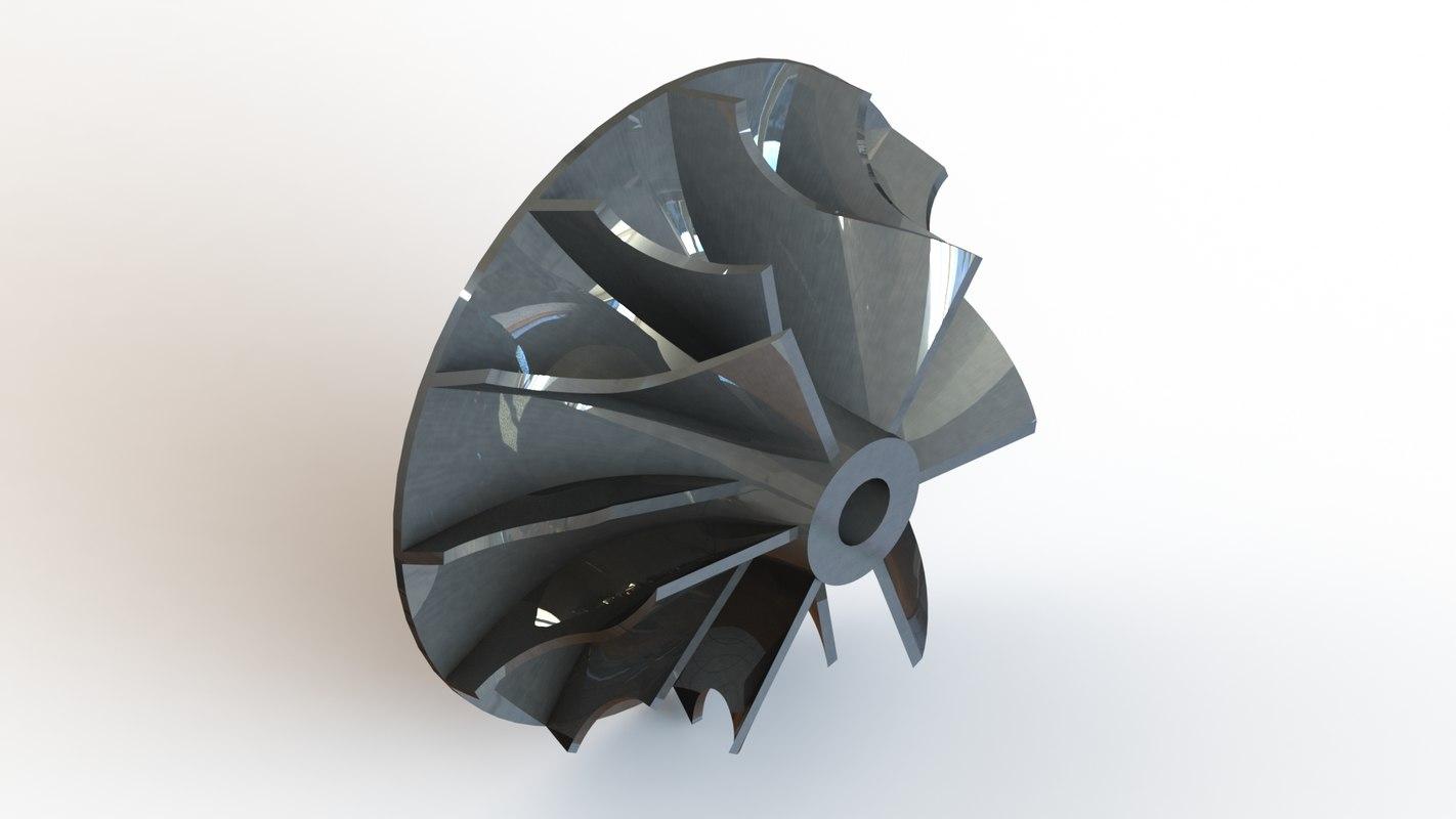 garrett gt2860r turbocharger compressor 3D