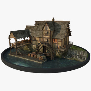 watermill architectural 3D model