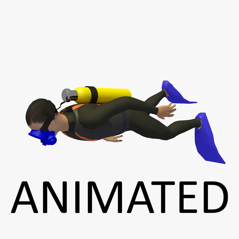 3D diver swimming person animation model