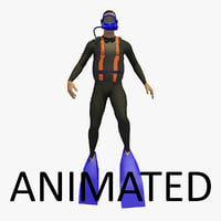 Animated Diver Swimming Upright Underwater