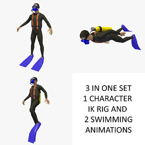 3D sea diver male