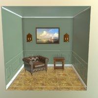 3D model room chair scene