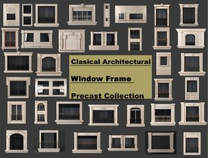 3D model clasical architectural window frame