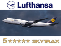 "Boeing 747-8 of Lufthansa airlines with ""5 Star Hansa"