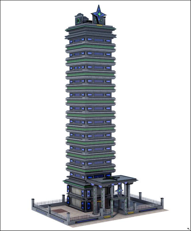 3D sci-fi skyscraper building model