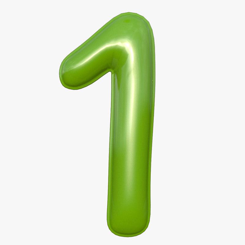 3D balloon numeral 1 model