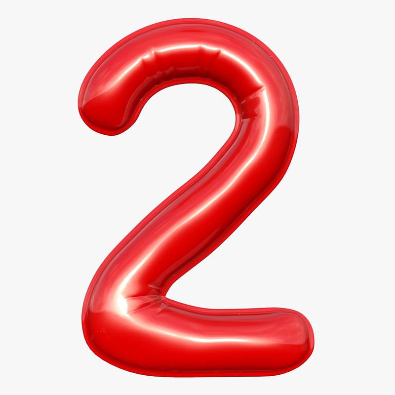 3D model balloon numeral 2