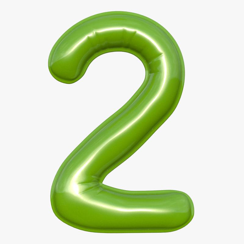 balloon numeral 2 3D