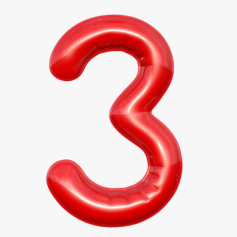 balloon numeral 3 3D model