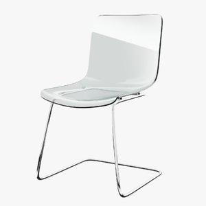 3D chair glass-chrome model