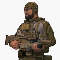 Military Male US Soldier Set Rigged