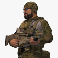military soldier rigged 3D model