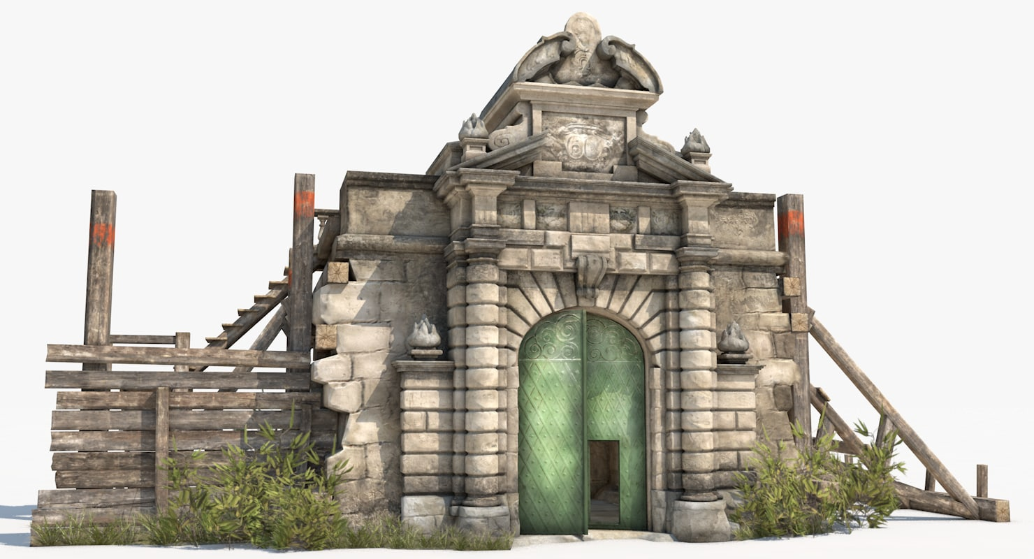 3D old portal castle interior model