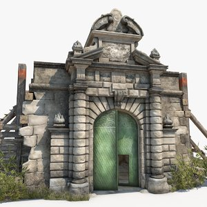 3D old portal castle interior model