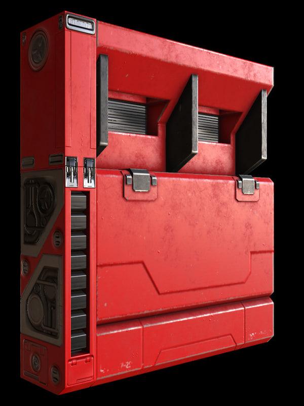 3D sci-fi wall modular model