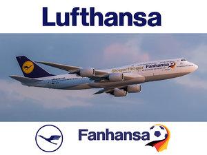 3D model boeing 747-8 lufthansa airlines