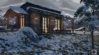 mountain lake house 3D
