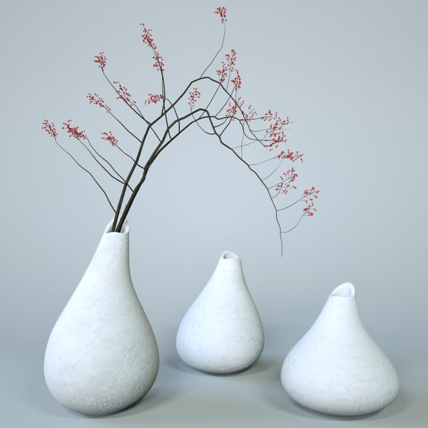 3D white vase set branches model